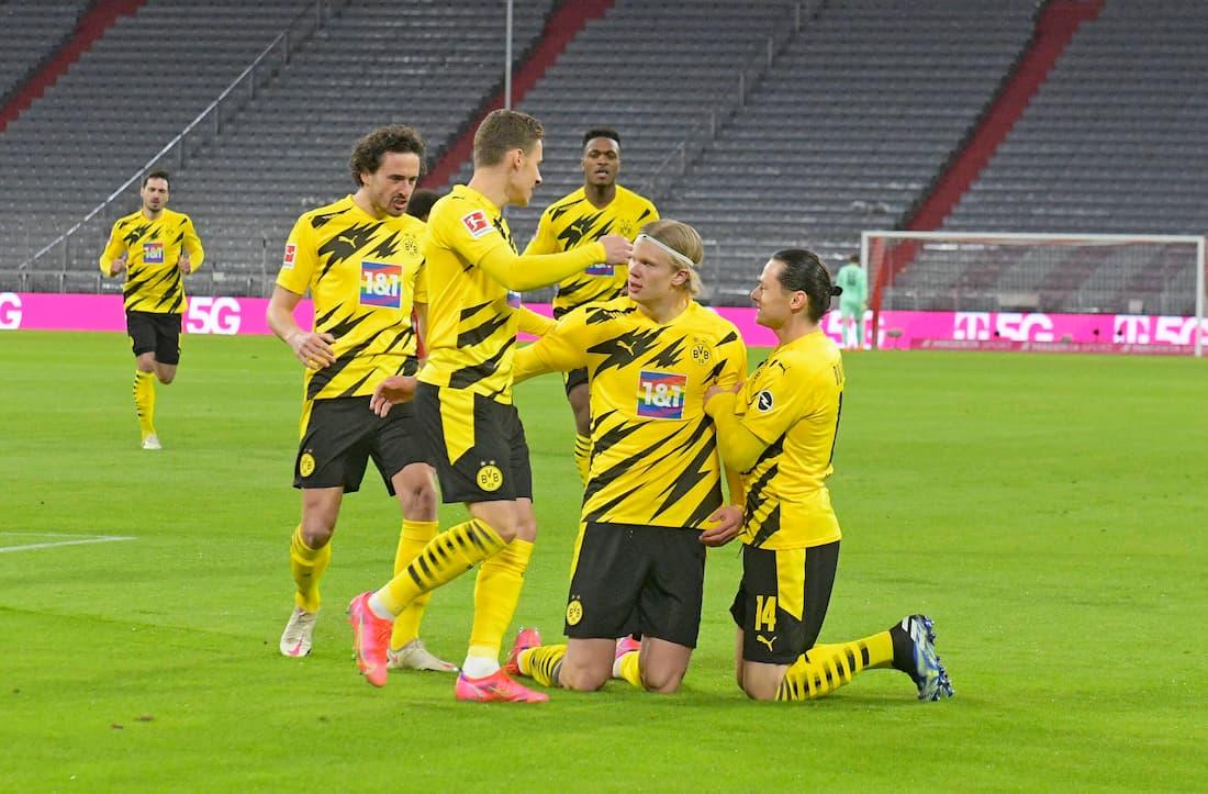 Erling Haaland gjorde två mål mot Bayern München i förra matchen.